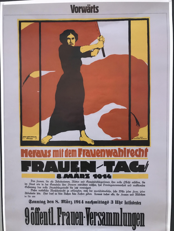 """Frauen-Plakat """"Heraus mit dem Frauenwahlrecht - Frauen-Tag - 8. März 1914"""""""