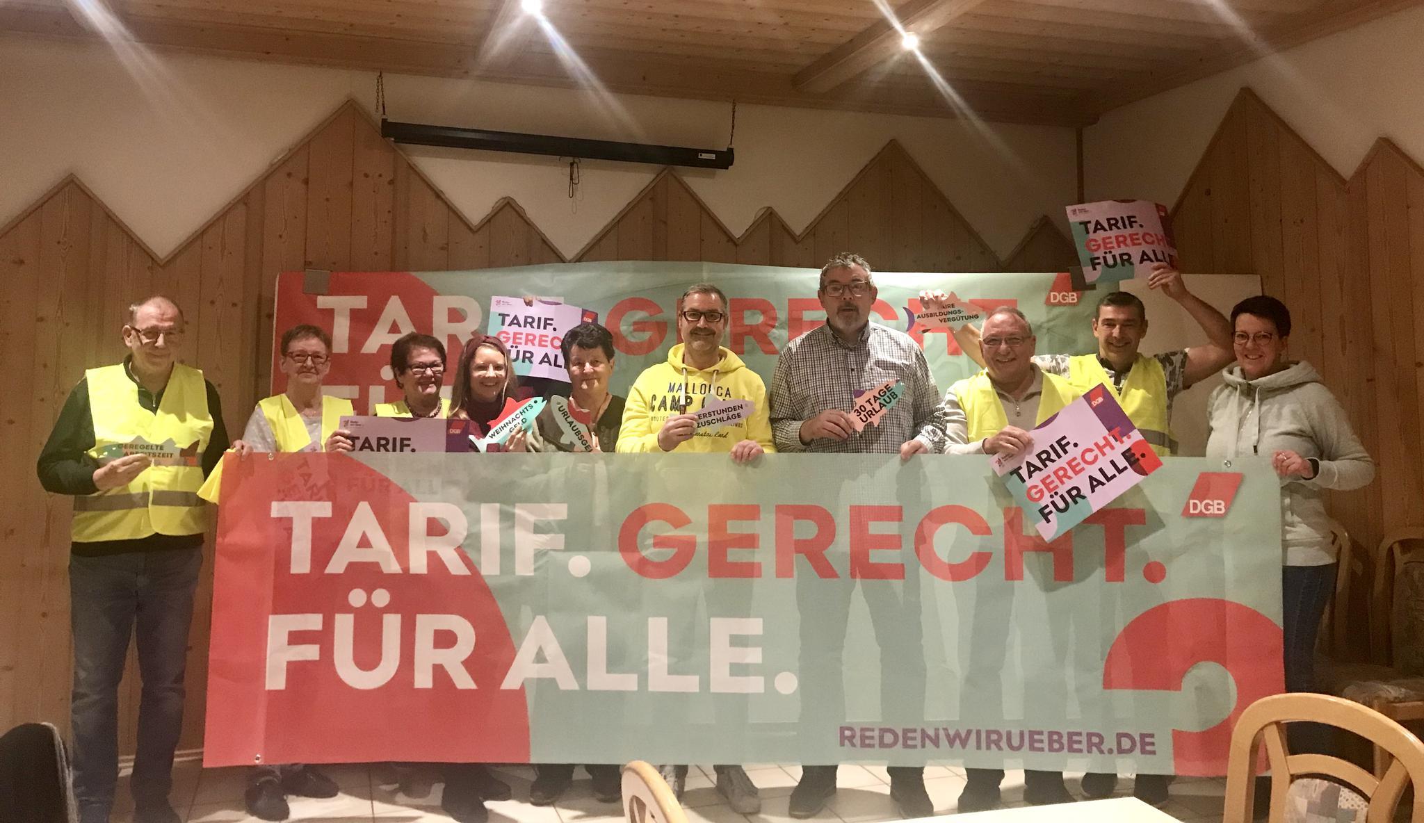 Der Kreisverband in Schwandorf fordert: Tarif.Gerecht.Für alle.