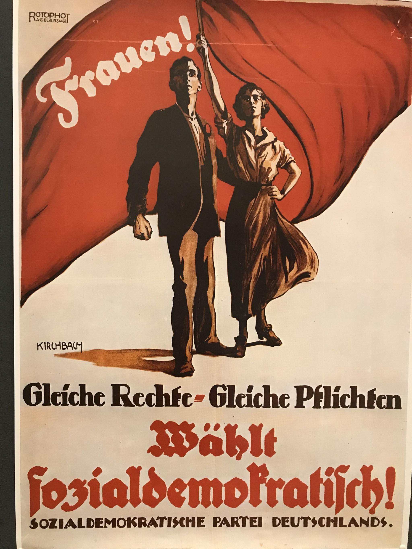 """Frauen-Plakat """"Gleiche Rechte - Gleiche Pflichten - Wählt sozialdemokratisch"""""""
